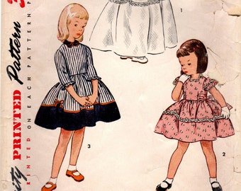 1950s Simplicity 3725 Vintage Sewing Pattern Girl's Party Frock, Party Dress, Full Skirt Dress Size 3