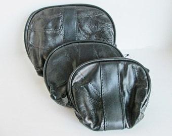 Genuine Leather Cases, Black Cosmetic Bag, Makeup Pouches, Travel Purse Wallet, Zipper Nesting Bags, Makeup Organizer Box, Travel Case Purse