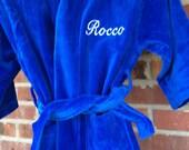 Kids Monogramed Velour Hooded Robes
