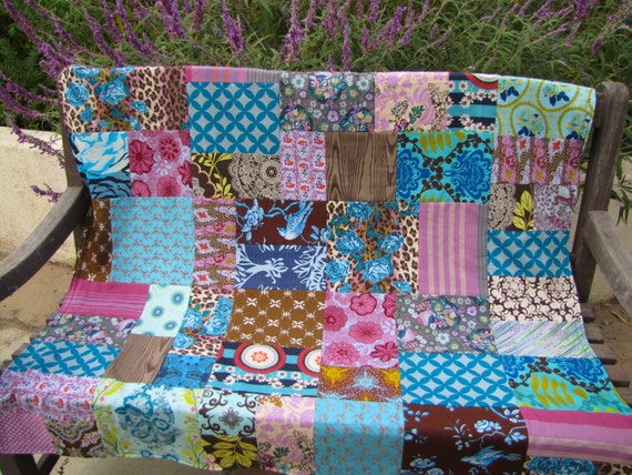46x46 Leopard Roses Random Patchwork and Minky Blanket Ready to Ship
