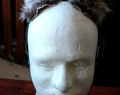 Raccoon ears headdress - real adjustable eco-friendly raccoon fur ears with leather straps for costume and totemic dance upcycled