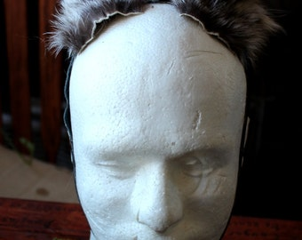 Raccoon ears headdress - real adjustable eco-friendly wild raccoon fur ears with leather straps for costume and totemic dance upcycled
