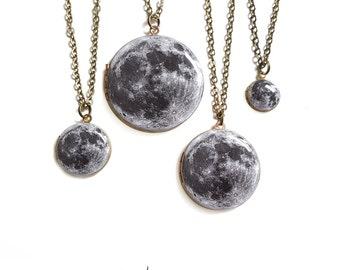 Moon Locket Necklace - Brass Moon Locket on Antiqued Brass Chain in 4 Sizes - You choose the size! Large Medium Small Tiny, Earth's Moon