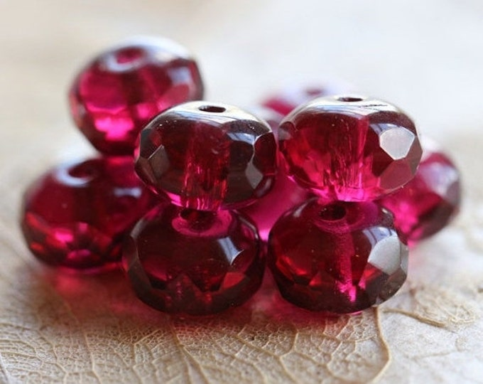 MULBERRY CRUSH No. 2 .. 10 Premium Czech Glass Rondelle Beads 6x8mm (4897-10)