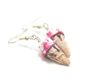 Strawberry and Chocolate Ice Cream Earrings, Miniature Food Jewelry, Polymer Clay Food Jewelry