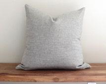 """20"""" Gray Neutral Variegated linen Pillow - Solid Pillow - Designer Throw Pillow"""