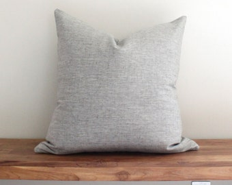 Gray Neutral Variegated Linen Pillow Cover