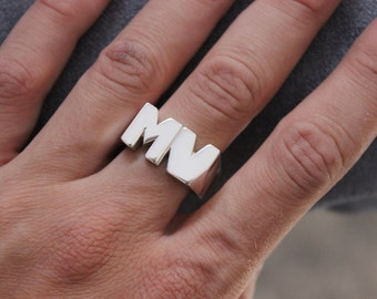 SIGNET  Sterling silver ring, Personalized unisex ring, Lovers rings, Letter ring, Monogram ring, Pinky ring, Signet ring, Square ring