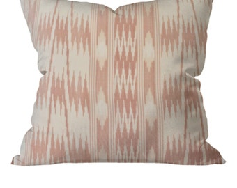 Indian Ikat Cotton Throw Accent Pillow Beige Ecru 18x18 inches