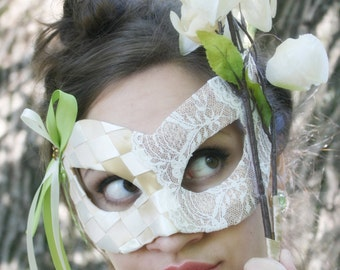 FLASH SALE! - Sienna - Fairy Masquerade Ball Mask with Woven Ribbon in Fawn Brown, Celery Green, and Ivory