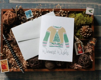 Ugly Christmas Sweater Christmas Cards | Warmest Wishes Holiday Cards | Christmas Stationery | Modern Christmas Card | Boxed Stationery