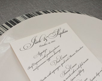 Formal Calligraphy Menu, Wedding Menu, Traditional Reception Menu - Sophia and Jack