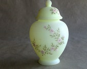 Vintage Fenton Ginger Jar Yellow Custard Glass with Hand Painted Pink Flowers by Sandy Stephens Easter Gift Spring Decor