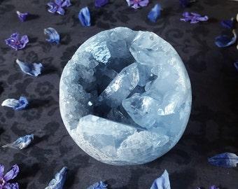 Celestite Crystal - Celestite Orb - Large Blue Celestite - Gemmy Celestite Crystal Sphere - Celestite Orb Specimen - Madagascar Celestine