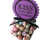 50th Birthday - Kiss Your 40's Goodbye- Cake Topper Decoration, Candy Pick, Black and Purple or Your Choice of Colors