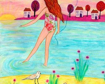 Children Wall Art, Beach Art For Girls Nursery Decor, Nursery Wall Art, Children Beach Decor, Beach Art, Ocean Art, Sunset Beach Girl