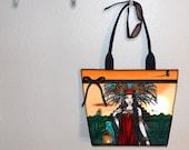 Tote Bag, book tote, large purse, canvas tote, shoulder bag, gym bag, diaper tote, Myka Jelina Feathered Goddess bag Aztec girl Zyanya