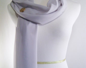 Wedding Scarf - Platinum Gray Bridal Scarf -  Bridesmaid Scarf - Evening Wrap - Extra Long Light Gray Silky Chiffon