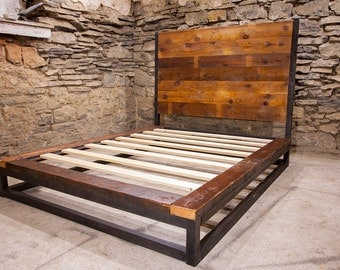 Abbey Road - Industrial Platform Bed from Reclaimed Wood