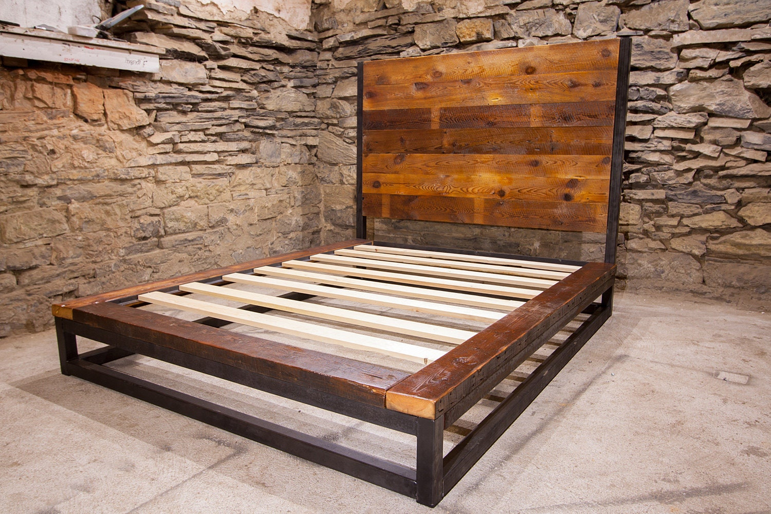 Reclaimed Wood Bed ~ Abbey road industrial platform bed from reclaimed wood