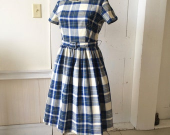 1950s Classic Picnic Day Blue Plaid Cotton Dress Rick Rack Matching Belt Brentwood Short Sleeves Size 14 Size 16