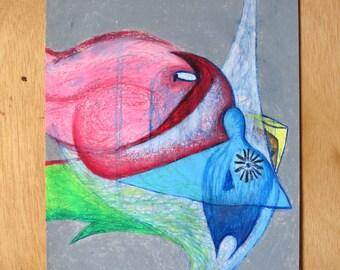 Birds - original oil pastel, rotational drawing