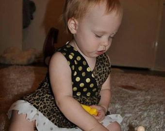 Toddler Girls Leopard Gold Polka dot Summer Sundress Ruffle Boutique custom size 18mo 2T 3T 4T USA Made