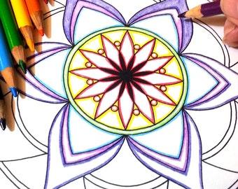 DIY Coloring Page - Lotus Tear Mandala - Instant Download