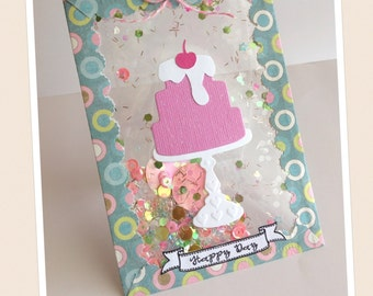 Happy Day Shaker Gift Card Holder, Money Holder, Shaker Card, Cake, Stationery, Greeting Card