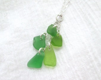 "Sterling Silver Cascade Genuine Sea Glass Necklace in Greens on Adjustable 18"" Chain"