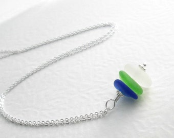 Green & Blue Sea Glass Pendant, Natural Beach Glass Jewelry, Ocean Themed Gift