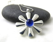 Cobalt Blue Spring Flower Necklace - Silver and Glass Necklace - Ready to Ship