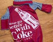 Coke Coca Cola Infant Baby Layette Gown and Knot Hat