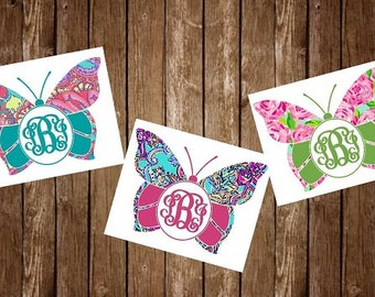 Yeti Decal, Yeti Tumbler Decal, Yeti Decal For Women, Butterfly Monogram, Yeti Sticker, Yeti Cup Decal