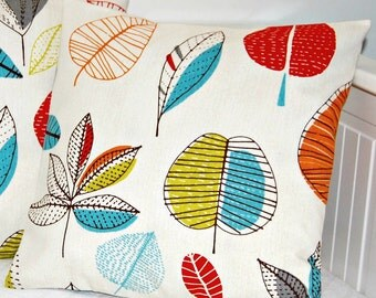 pair of pillow covers red blue orange green brown grey leaves ,cushion covers 14 inch