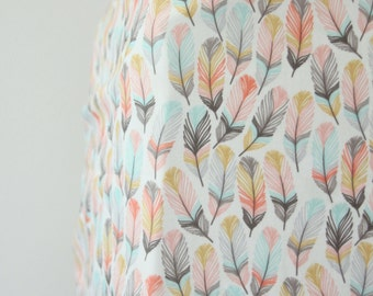 Woodland Girl Feather Crib Sheet in Coral, Pink and Aqua - Ready to Ship