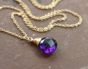 Amethyst Necklace Faceted Amethyst Briolette Pendant Necklace Gold Wire Wrapped Classic Fine Rustic Jewelry February Birthstone