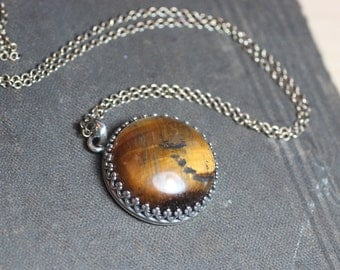 Tigereye Necklace ~ Crown Bezel Set ~ Sterling Silver Chain ~ Gallery Setting Tiger Eye Cabochon Necklace