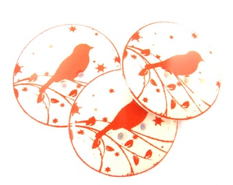 """3 LARGE Bird Buttons.  Bird On a Branch Sewing Buttons.   Novelty Buttons, Craft Buttons.  Red Buttons.  1"""" or 25  mm."""