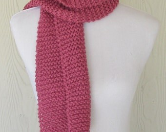 Mauve Hand Knit Scarf, Women's Scarf, Ladies Knitted Scarf, Fashion Scarves for Women