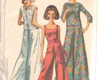 Simplicity 7023 1960s Missed Evening Scoop Neck Jumpsuit and Blouse Pattern Womens Vintage Sewing Pattern Size 16