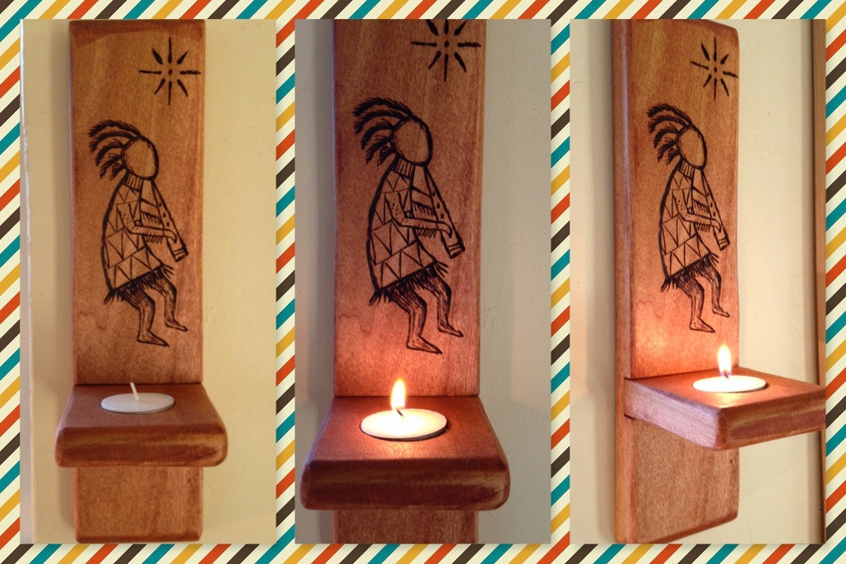 Kokopelli Wall Sconces : Kokopelli Tealight Wall Sconce by anasazidream on Etsy