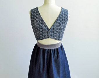 SALE 35% off Cut back dress in chambray denim