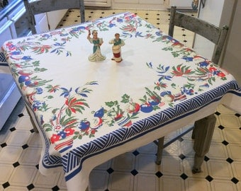 Vintage Simtex Tablecloth Colorful Mexican Fiesta Cactus & Pottery