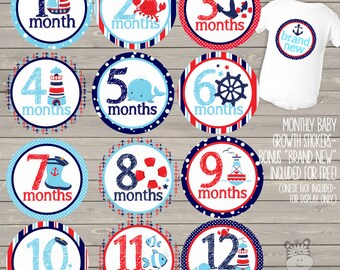 Baby monthly milestone stickers - bonus brand new sticker included - nautical anchor whale theme