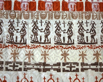 Native American Block Print Fabric, 1.2 Yds of Pascua Yaqui Tribal Easter Ceremony Deer Dancer, Singer and Church Print on Tan Linen Fabric