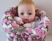 Huggums Bunting, Baby Doll Sleeping Bag, Cocoon, Blanket,  Crochet Doll Clothes, Pink, Vanilla and Gray, Fits Huggums and 12 inch Dolls