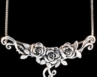 Floral Jewelry Silver Roses Tendril Pendant Roses Jewelry Flower Necklace Botanical Jewelry Flowers Sterling Silver