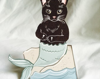 Black MerCat - Desk Decor Paper Doll