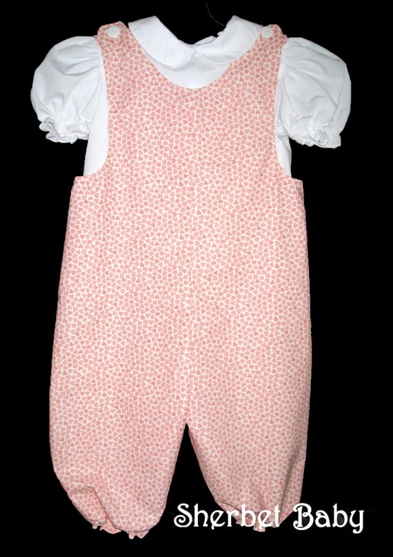 Bubble Romper Cream with Pink Hearts Baby Girl Toddler with Monogram Option